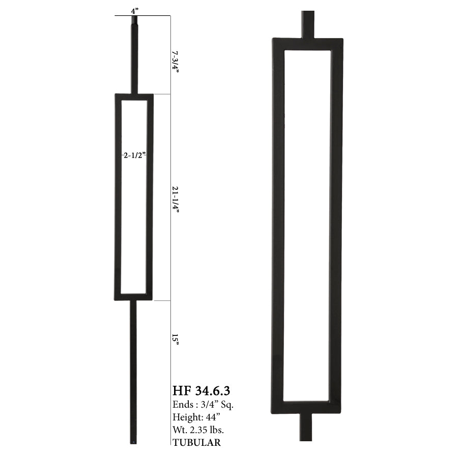 34.6.3 Mega Series Square Rectangle Hollow Iron Baluster