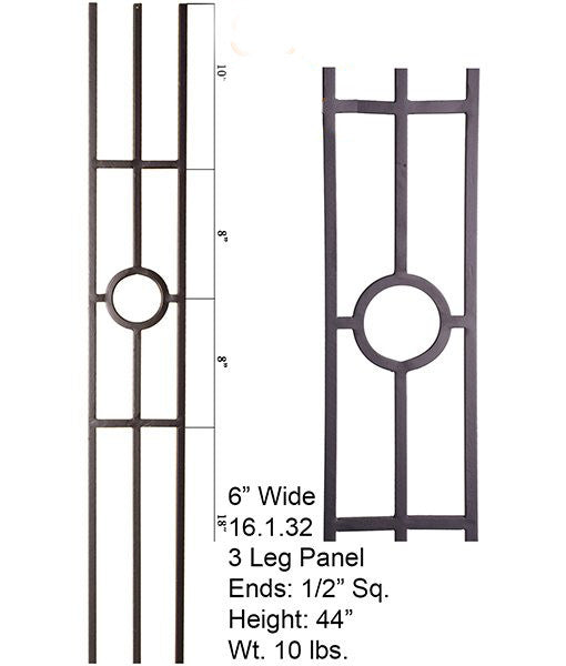 HF 16.1.32-T Single Ring 3 Legged Hollow Iron Panel