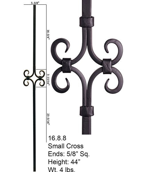 HF 16.8.8 Diamond Spirals Square Hollow Iron Baluster