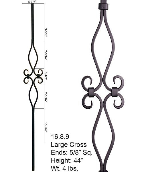 HF 16.8.9 Diamond And Oval Spirals Square Hollow Iron Baluster