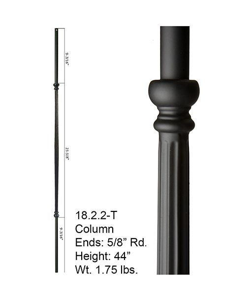 HF 18.2.2-T Plain Fluted Round Hollow Iron Baluster