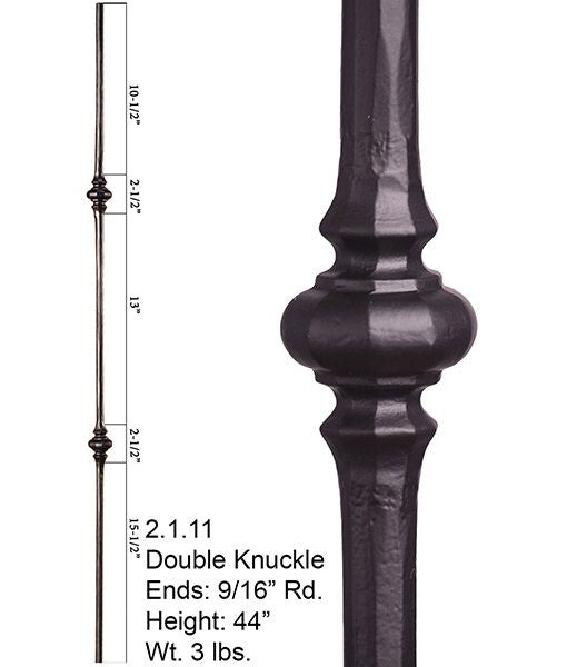 HF 2.1.11 Double Knuckle Round Hammered Iron Baluster
