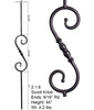 HF 2.1.6 Long Single Knuckle Scroll Round Hammered Iron Baluster