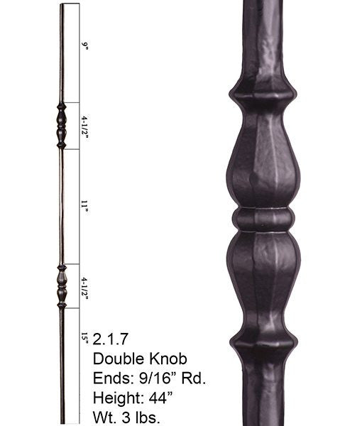 HF 2.1.7 Long Double Knuckle Round Hammered Iron Baluster