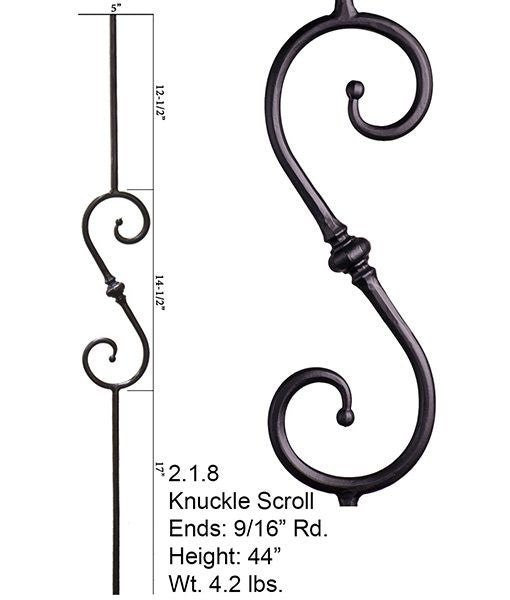 HF 2.1.8 Single Knuckle Scroll Round Hammered Iron Baluster