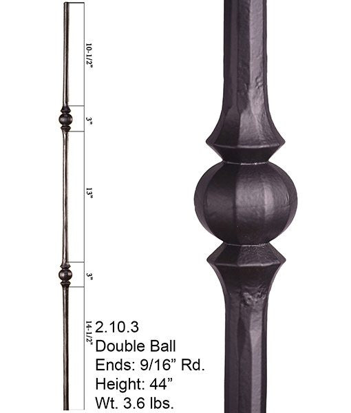 HF 2.10.3 Double Sphere Round Hammered Iron Baluster