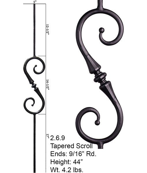HF 2.6.9 Single Tapered Knuckle Scroll Round Hammered Iron Baluster