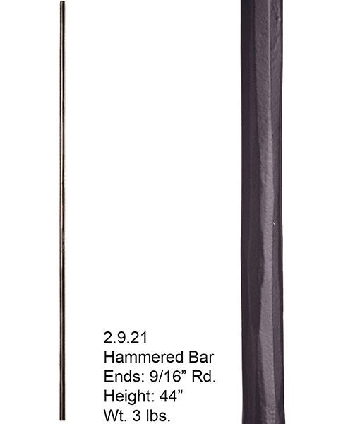 HF 2.9.21 Plain Round Hammered Iron Baluster