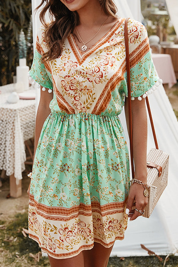 Bohemian Floral Print V-neck Tassel A-line Mini Dress