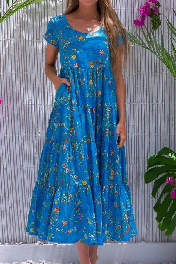 Holiday Floral Print Side Pockets Paneled Maxi Dress