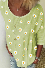 3/4 Sleeves Daisy Print Casual Crew Neck Blouse