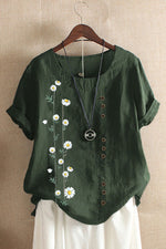 Daisy Print Paneled Buttons Down Vintage Blouse
