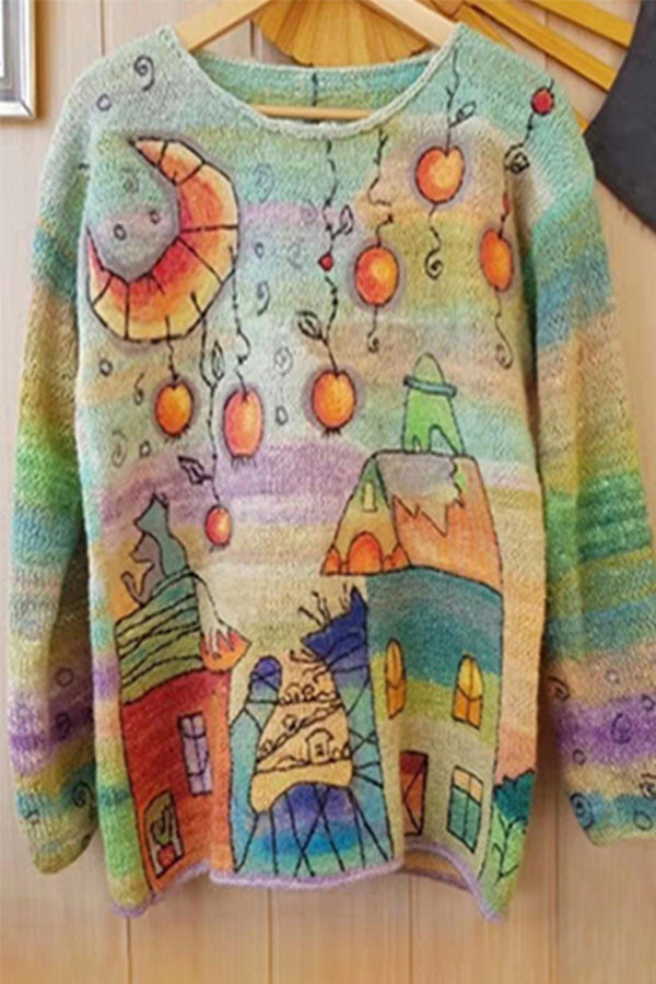 Knitted Cartoon Graphic Print Gradient Casual Sweater
