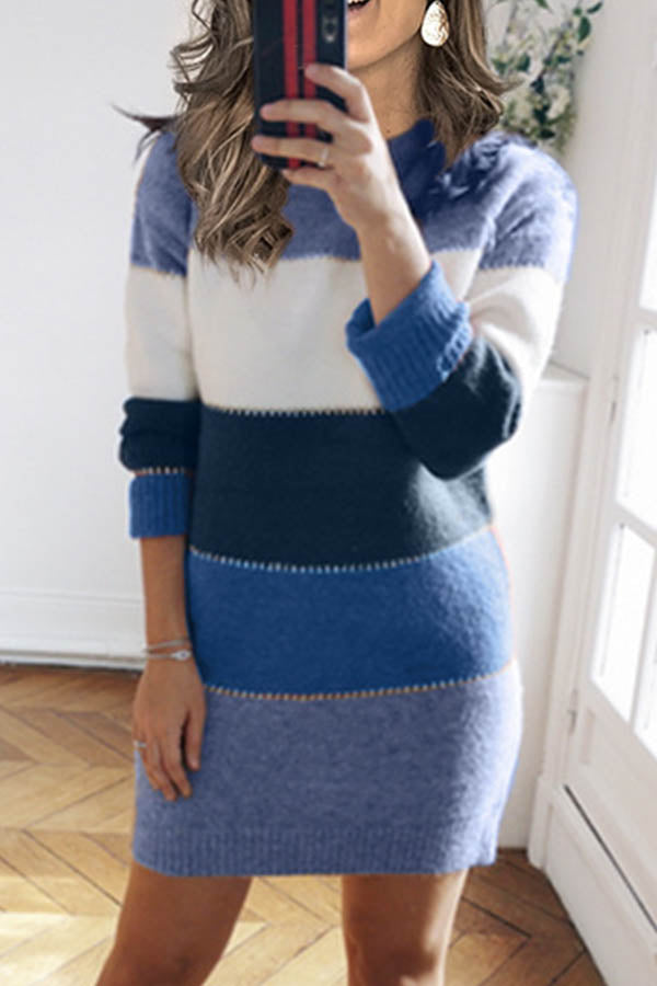 Knitted Striped Jacquard Paneled Ribbed Holiday Sweater Dress