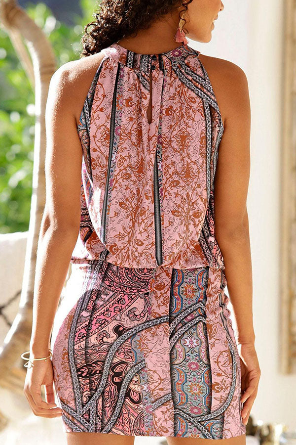 Bohemian Floral Print Sleeveless Elastic Holiday Mini Dress