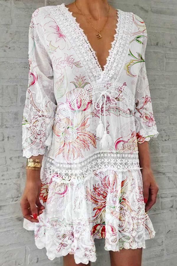 Bohemian Floral Print Paneled Lace Drawstring Mini Dress
