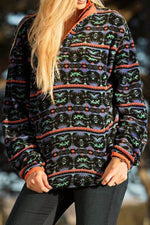 Bohemian Striped Graphic Jacquard Buttoned Stand Collar Sweatshirt