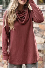 Basic Daily Solid Pile Neck Paneled Long Sleeves Blouse