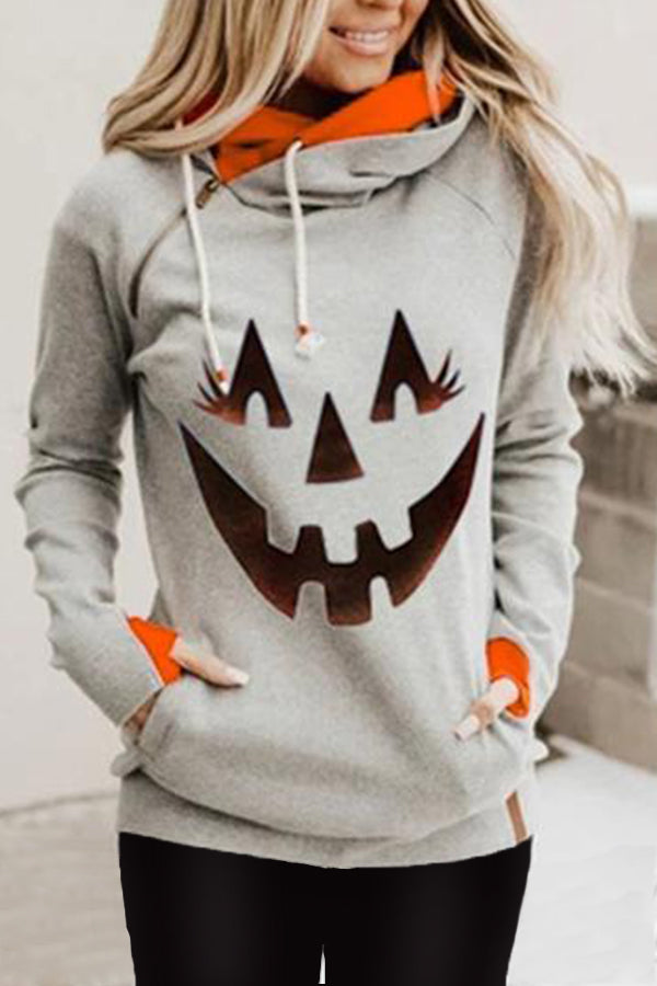 Color-block Smile Face Pumpkin Print Diagonal Zipper Halloween Hoodie
