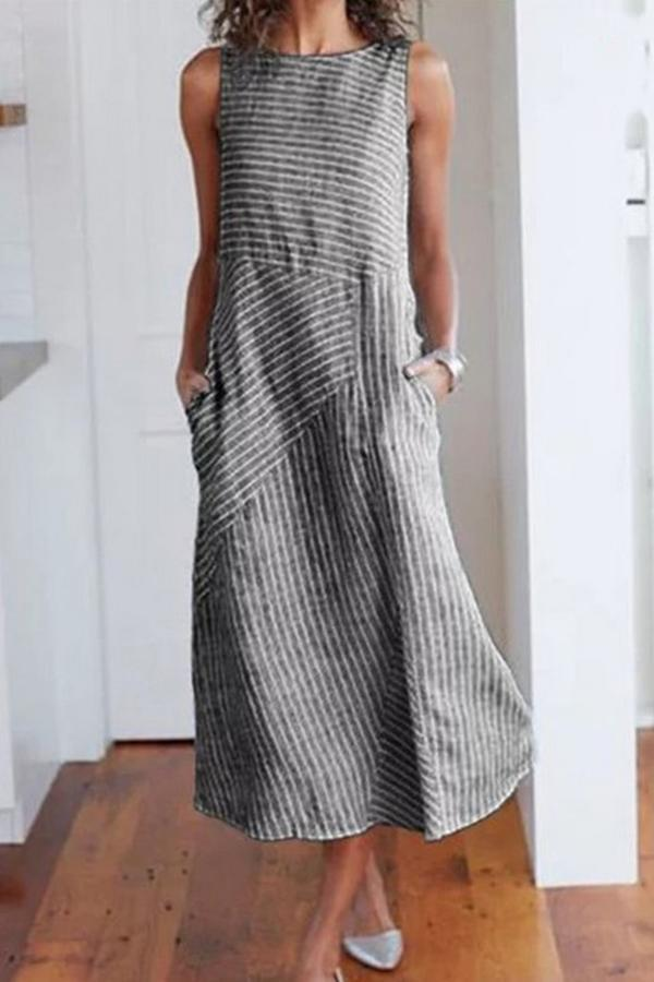 Side Pockets Crew Neck Striped Midi Dress