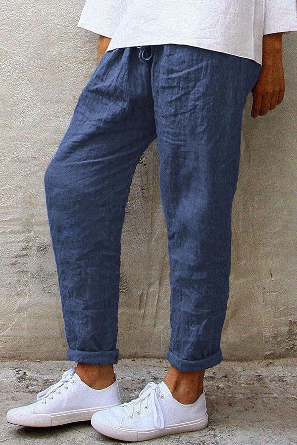 Casual Solid Self-tie Paneled Pants