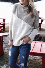 Colorblock High Neck Casual Sweater