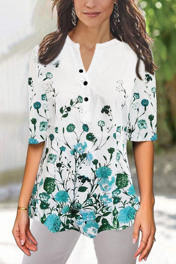 Buttoned V Neck Floral Print Half Sleeves Blouses