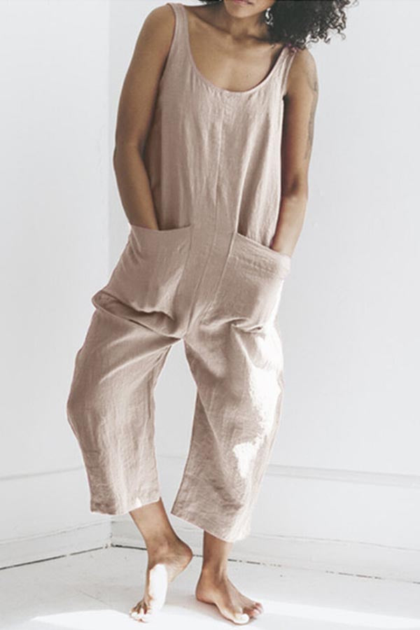 Casual Solid Sleeveless Paneled Pockets Wide Leg Jumpsuit