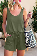 Sleeveless Solid Pockets Drawstring Casual Rompers