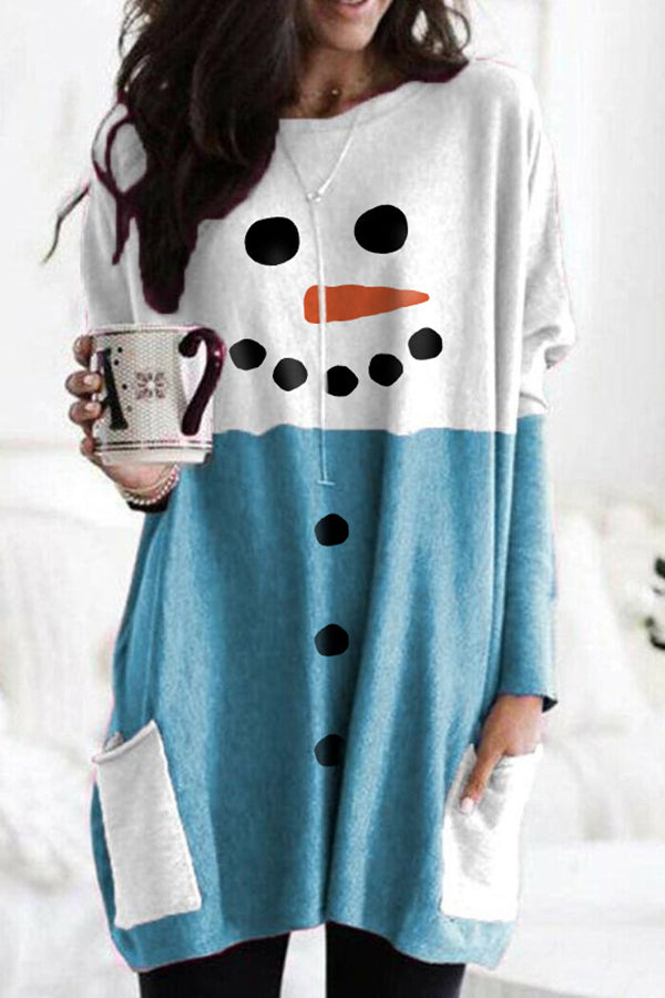 Christmas Snowman Face Print Color-block Paneled Pockets T-shirt