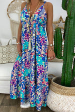 Spaghetti Bohemian Floral Print Plunging Neck Maxi Dress