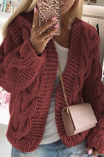 Solid Knitted Tweed Ribbed Hollow Out Holiday Cardigan