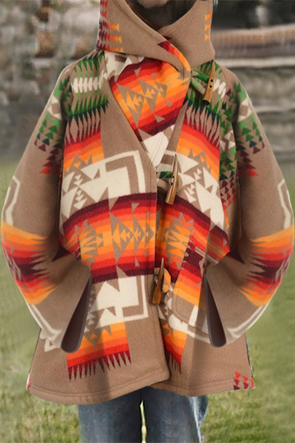 Geometric Gradient Jacquard Paneled Bohemian Outerwear Hooded Coat