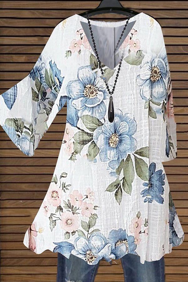 Poetic Classic Floral Print Ink Painting V-neck Half Sleeves Blouse