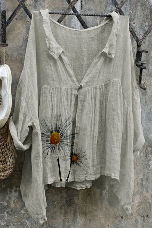 Daisy Print Buttoned Casual Paneled Folds Batwing Blouse