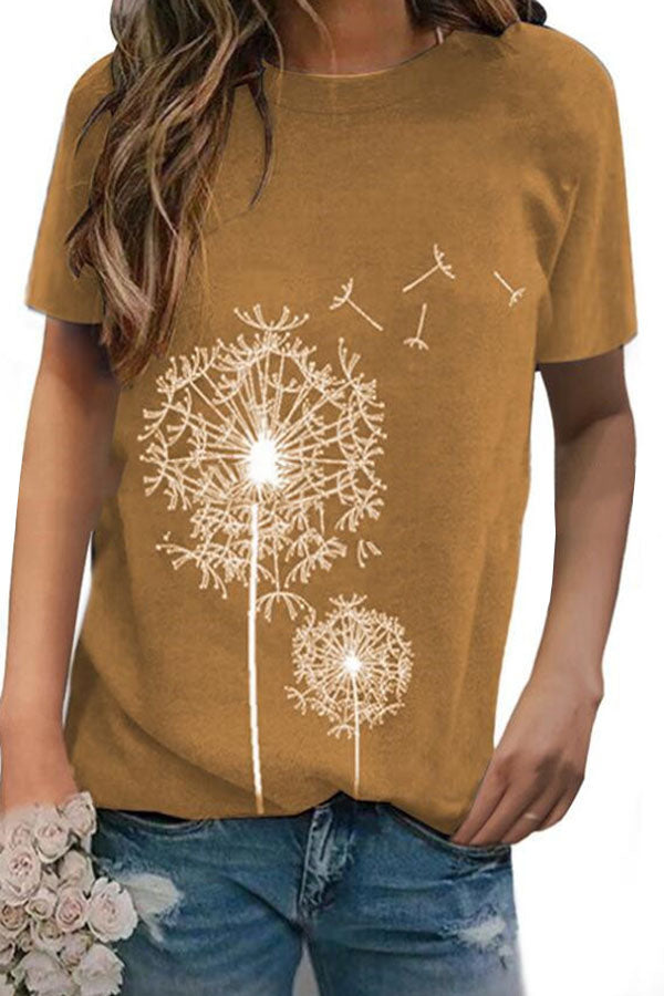 Shift Dandelion Print Short Sleeve Casual T-shirts
