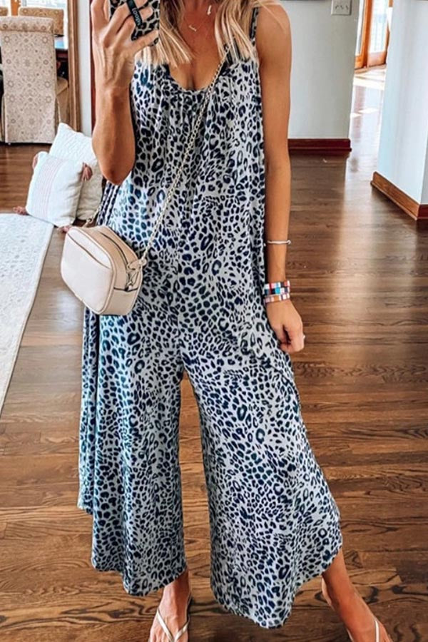 Holiday Leopard Print Sleeveless Wide Leg Jumpsuit