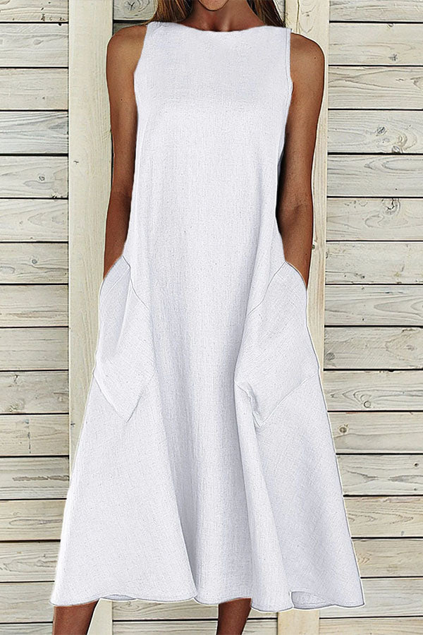 Solid Sleeveless Paneled Side Pockets Casual Midi Dress