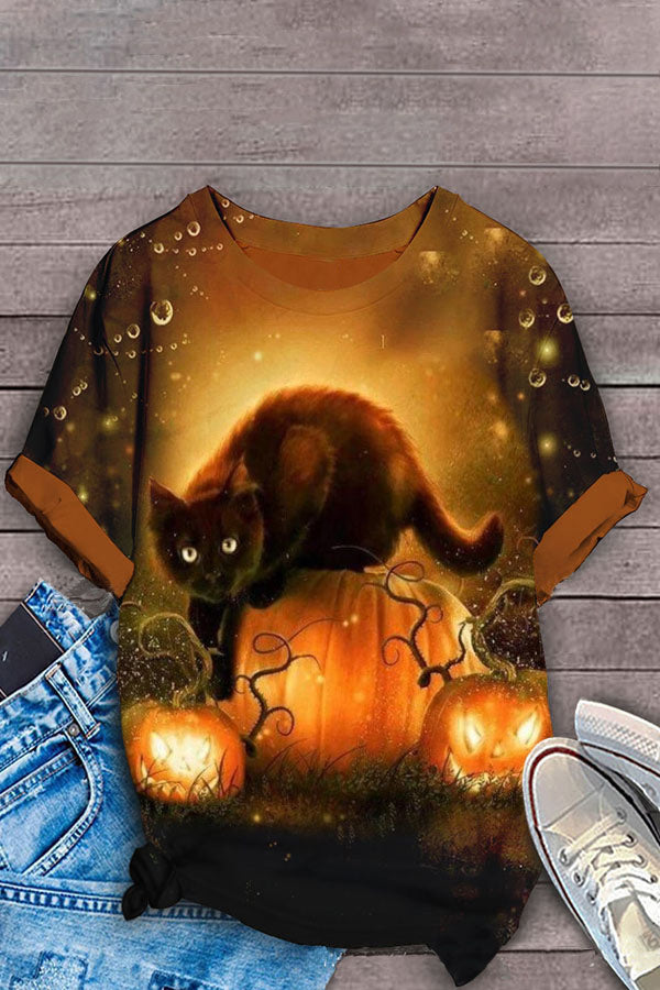 Halloween Cartoon Black Cat Pumpkin Castle Bat Print T-shirt
