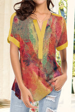 Gradient Print Paneled V-neck Vintage Blouse