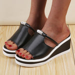 Wedge Heel Peep Toe Cutout Casual Sandals