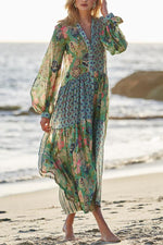 Bohemian Print Balloon Sleeves Holiday Maxi Dress
