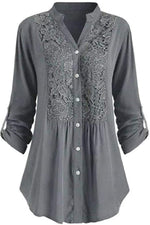 Vintage Floral Lace Paneled Buttoned Pleated Curved Hem Blouse