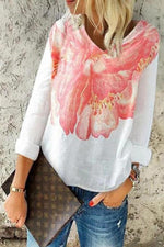 Casual V-neck Floral Print T-shirts