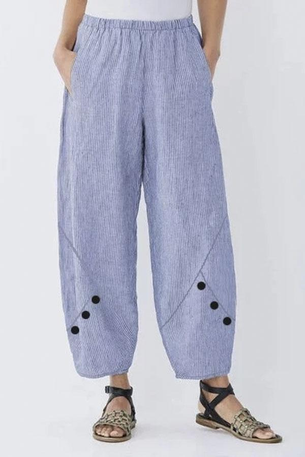 Casual Side Pockets Button Design Pants