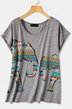 Elephant Print Crew Neck Short Sleeves Casual T-shirt