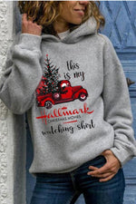 Hallmark Red Cat With Christmas Tree Print Casual Hoodie