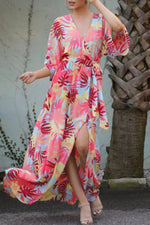 Bohemian Leaf Print Cross Front V-neck Holiday Slit Maxi Dress