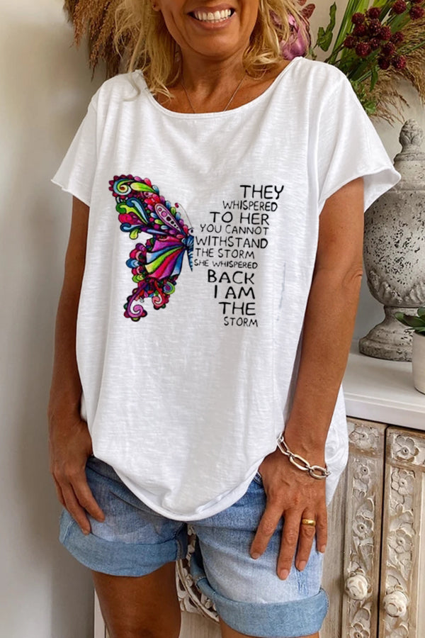 Paneled Butterfly Letter Print Casual Short Sleeves T-shirt