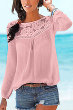 Paneled Floral Lace Pleated Hollow out Casual Blouse